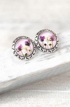 Real flower earrings Women accessories Bridesmaid earrings Handmade jewelry romantic Lilac earrings Weddings flower ear Nature jewelry
