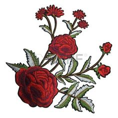 Embroidery Roses Branches Leaves