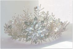 Commissioned Wedding tiara for a bride to be, to match her Meredith wedding bouquet and wedding colours silver and ivory  www.tiarasandteirs.co.uk