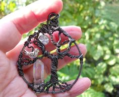 Moon Tree of life with quartz crystal on hammered steel
