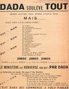 Dada soulève tout, 12 Janvier 1921, Tract-manifeste en partie dirigé contre Marinetti et le futurisme.