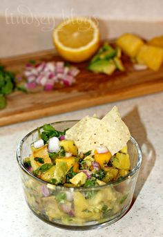 Pineapple Mango and Avocado Fresh Salsa - perfect snack or topping for tacos!