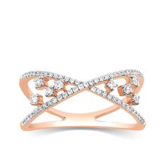 Diamond Ring Crossover Band Criss Cross Solid Rose Gold Ct Gift For Her Rose Gold Jewelry, Diamond Jewelry, Diamond Rings, Gold Rings, Wedding Ring Bands, Wedding Jewelry, Infinity Jewelry, Finger, Anniversary Jewelry