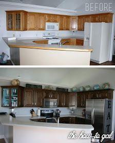 Idea for the kids bathroom first... then the kitchen.... The How-To Gal: How-To Refinish Kitchen Cabinets