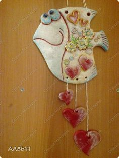 Картина панно рисунок Лепка Олеськина рыба-любовь Тесто соленое фото 3