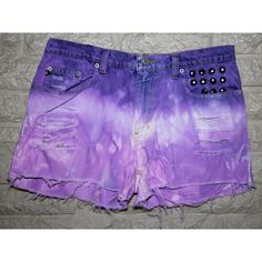 SALE Purple Ombre, High Waisted, Round Studded Pocket, Cutoff Denim... ($22) ❤ liked on Polyvore