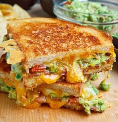 Bacon Guacamole Grilled Cheese Sandwich - Made these and it was delish! I have to have a gourmet grilled cheese sandwich party one of these days! Think Food, I Love Food, Good Food, Yummy Food, Tasty, Healthy Food, Healthy Eating, Delicious Meals, Healthy Recipes