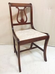 Set of four harp back solid wood dining chairs cream seats $165 set