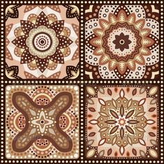 Set of brown romantic patterns. Vector illustration for sweet chocolate design. Floral ornament. Wave and dot shapes. Texture can