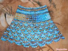 . Летняя юбка в коричнево-синих тонах