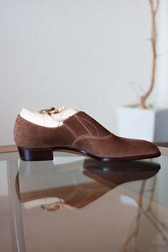 Elastic sided shoe. Caribou-Gray calf suede upper. TYE Shoemaker