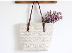 Handmade Shabby Chic Cotton Wedding Bag, Lace Bag, Lace Tote, Vintage Style, Ivory/Off White, Make to Order, B0098
