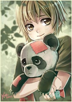 anime girl with fixed up panda