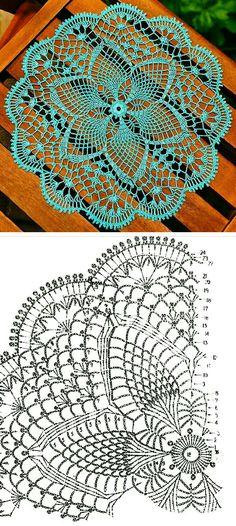 Free Crochet Doily Patterns, Crochet Doily Diagram, Crochet Circles, Granny Square Crochet Pattern, Crochet Chart, Crochet Squares, Thread Crochet, Crochet Motif, Crochet Lace