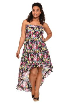 $68.50 size L thru 4x Floral Challis Hi-Lo Strapless Dress  A floral print explodes with color on this challis dress. Gathers and pleats lend textural interest to the bodice, while the hi-lo hem, trimmed in a flirty ruffle, gracefully floats and flutters.