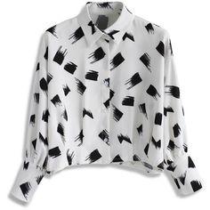 Chicwish Brush on Chic Cropped Chiffon Shirt (1,395 PHP) ❤ liked on Polyvore featuring tops, white, crop shirts, batwing sleeve top, white chiffon top, pastel shirts and white chiffon shirt