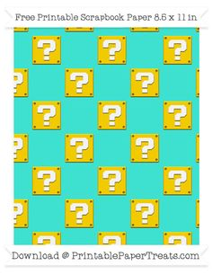 Free Turquoise Large Mario Question Box Pattern Paper - Super Mario Bros