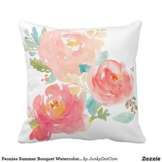 Peonies Summer Bouquet Watercolor Pastel Throw Pillows - Oct 7 - 2x