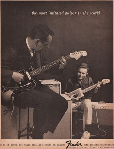 1964 FENDER GUITAR Music Advertisement Father & Son by phorgotten