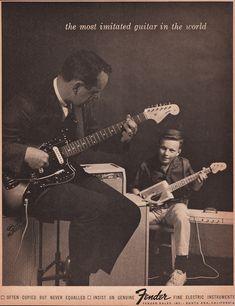 1964 FENDER GUITAR Music Advertisement Father & Son by phorgotten