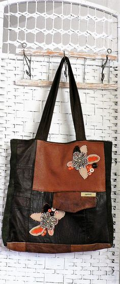 Leather bag of piecerecycledapplications  by AGAINARTshop on Etsy