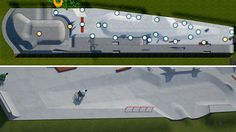 Petersfield wheelchair skatepark planned:  The skate park design for wheelchair users (in light grey in top image) would be added to the existing Petersfield skate park (in dark grey)