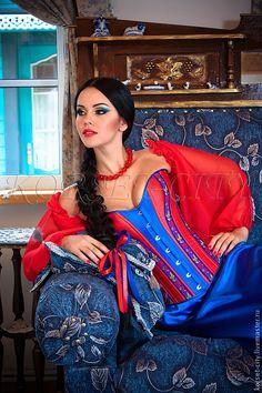 Купить Утягивающий корсет «Аксинья» в русско-народном стиле - корсет, корсет утягивающий, корсет на заказ Gorgeous Women, Beautiful, Sexy Outfits, Lady In Red, Ethnic, Sari, Corsets, Inspiration, Clothes