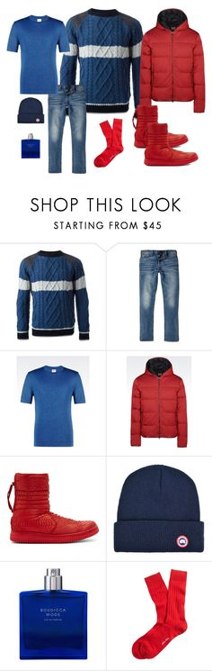 """""""Python Boots Man"""" by steven-rs ❤ liked on Polyvore featuring Moncler, River Island, Armani Collezioni, EA7 Emporio Armani, Christian Peau, Canada Goose and Brooks Brothers"""