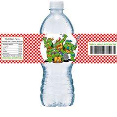 Items similar to Bottle Label Red Checker TMNT Ninja Turtles Boys Birthday Party Printable Water bottle Labels on Etsy Ninja Birthday Parties, Boy Birthday, Printable Water Bottle Labels, Unique Invitations, Ninja Turtles, Tmnt, Party Printables, Boys, Red