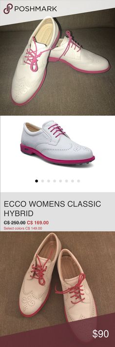 ⛳️Ecco Classic Hybrid HydroMax Oxford Golf Shoe⛳️ New. Never worn. No signs of wear. Super fun hot pink & white oxfords in perfect condition- ready to travel to great courses ⛳️😃 ⚡️⚡️IMPORTANT...These are marked as Size 37- which would normally mean a 7 US. However, these run big. I wear an 8 & these were only a tiny bit snug on me. I would say these will best/most comfortably fit a 7.5, but would work for an 8 as well. For this reason, I've listed these under 7.5 despite the fact that they…