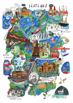 Pictorial, illustrated map of our bonny wee homeland . this artwork forms the basis of our gorgeous new collection, Scotland Mapped Out. Scotland Map, Scotland Travel, Glasgow Scotland, Paris 3, Pictorial Maps, Scottish Gifts, Travel Illustration, Travel Maps, City Maps
