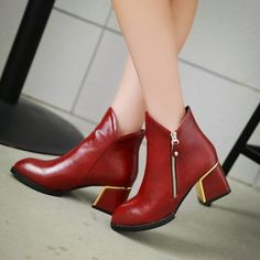 Womens Stylish Heel Zip Ankle Boots