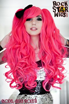 Rockstar Wigs | Babydoll Blended Wig - Atomic Love Affair (Hot Pink & Light Pink) | Model: Alexa Poletti