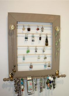 Tan Jewelry Holder Earring Organizer with Jewelry Bar-Clear Glass Knobs. via Etsy
