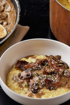 Creamy Polenta With Mushrooms Recipe - NYT Cooking tried this - it's awesome. I only made the mushroom sauce (minus porcinis) and used Riesling instead of the porcini sauce to deglase the pan. Porcini Mushrooms, Creamed Mushrooms, Stuffed Mushrooms, Stuffed Peppers, Wild Mushrooms, Mushroom Polenta, Polenta With Mushrooms, Mushroom Sauce, Vegetarian Recipes