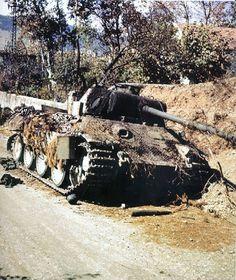 A destroyed German PanzerKampfwagen V Panther Ausf A tank.