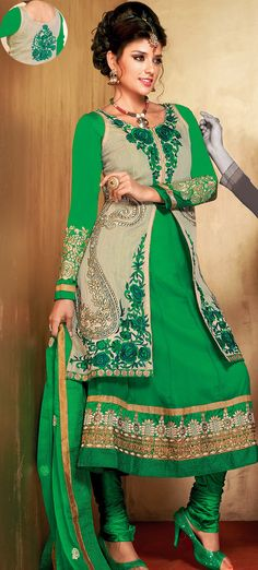 #Green Faux Georgette #Latest Designer #Salwar #kameez