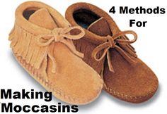 4 Methods for Making Moccasins The featured tutorial gives you four different methods and styles that will make your moccasins as unique as you are! How To Make Moccasins, How To Make Shoes, Beaded Moccasins, Baby Moccasins, Diy Leather Moccasins, Sewing Leather, Leather Craft, Baby Moccasin Pattern, Moccasins Pattern