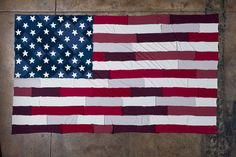 """American Flag Throw is hand-sewn from a single layer of 100% organic cotton and measures 103"""" x 62"""". One of our most popular heirloom pieces. Please allow four to six weeks for delivery. Free domestic Shipping. Made in the USA."""