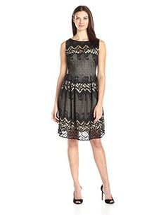 Julian Taylor Womens Sleeveless Lace Detail Fit and Flare Dress BlackNude 10 >>> You can find more details by visiting the image link.