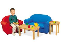 Easy-clean kid-size couch.  And as long as I'm dreaming, I'll take the chair and table, too.