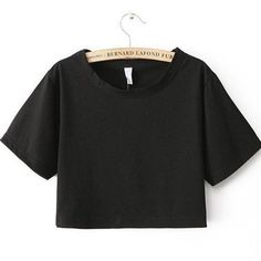 ae11408c67 Sexy Loose Cropped Top Casual Plain T Shirt