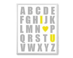 ABC Alphabet Poster  pépinière Art Print  par PaperPlanePrints