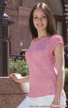 Розовый топ из 100% льна - Вязание - Страна Мам