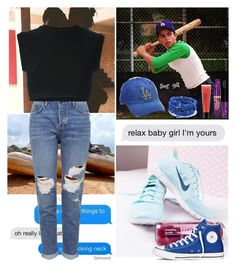 """""""the kid's a total square - an L7 weenie!"""" by tangie-leigh ❤ liked on Polyvore featuring American Needle, Topshop, Converse, adidas Originals, Rimmel, Kate Spade, philosophy, converse, baseball and BlueandBlack"""