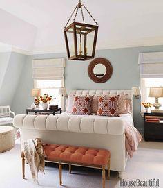 Lee Ann Thornton, bedroom, blue and orange, March 2013 House Beautiful, Mecox Gardens oak lantern, John Robshaw pillows, photo by Thomas Loof
