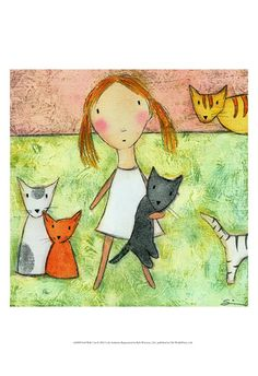 Trademark Global Carla Sonheim Girl with Cats Canvas Art - Painting Prints, Wall Art Prints, Canvas Prints, Cow Painting, Framed Prints, Cat Art Print, Cat Posters, Cheap Paintings, Kawaii