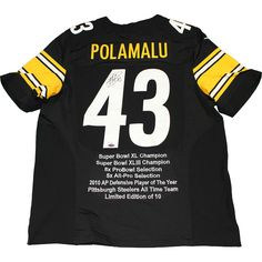 Troy Polamalu Signed Pittsburgh Steelers Nike Authentic Black Jersey w/ Embroidered Stats (LE/10)