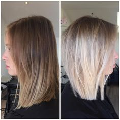 Cut and coloring blonde balayage, blonde hair, hair color and Medium Hair Styles, Short Hair Styles, Short Straight Hair, Short Hair Cuts, Hair Color And Cut, Pinterest Hair, Blonde Balayage, Blonde Lob Hair, Blonde Hair With Brown Roots
