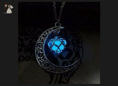 Mysticalglow Necklace Glow Crescent Moon Heart Wishing Box Glow in the Dark Necklace,charm Crescent Moon Glow Pendant Necklace,Halloween Jewelry,custom Necklace,personalized Necklace, - Wedding nacklaces (*Amazon Partner-Link)